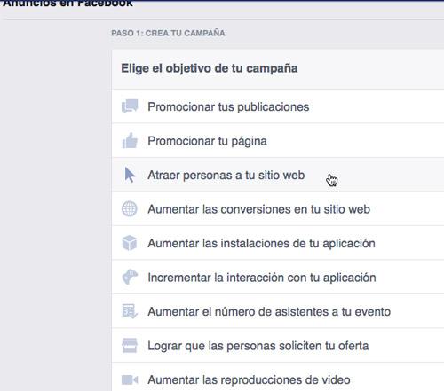 bloqueo en Facebook. Crear un anuncio