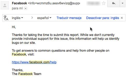 bloqueo en Facebook. Respuesta